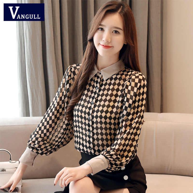 Vangull Vintage ชีฟองเสื้อผู้หญิงแขนยาวลายสก๊อตเสื้อ 2019 ฤดูใบไม้ผลิใหม่แฟชั่น Turn-down Collar Tops หญิง