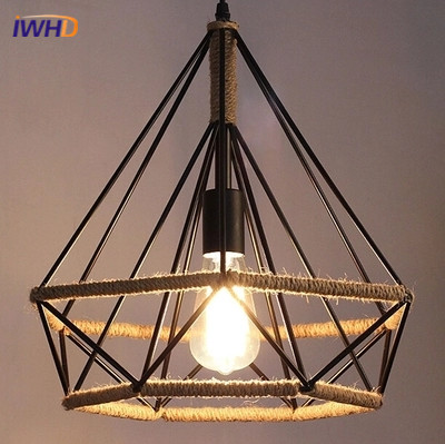 Vintage Rope Pendant Lights Loft Creative Iron Industrial hanging Lamp E27 Edison Bulb American Style For restaurant/bar Lampada new loft vintage iron pendant light industrial lighting glass guard design bar cafe restaurant cage pendant lamp hanging lights