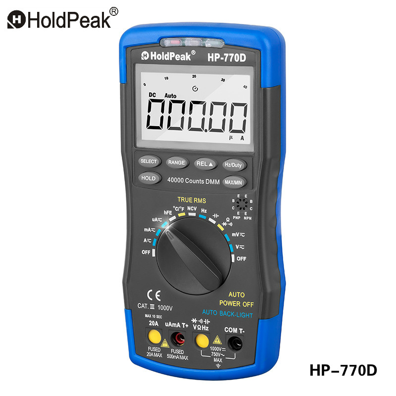 HoldPeak HP-770D Multimetro Digital Multimeter Auto Range True RMS Frequency/ Temperature Tester and Carry Bag holdpeak hp 90k engine analyzer tester auto range car diagnostic tool with data output by usb multimeter multimetro