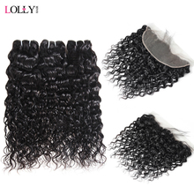 Lolly Malaysian Water Wave Bundles With Frontal Human Hair Bundles With Closure Non-Remy Lace Frontal Closure With Bundles 3Pcs