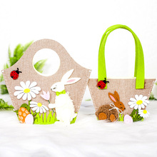 Newest Styles Easter Bunny Rabbit Canvas Basket Baby Girl Boy Jute Tote Festive Party Bag Kid Happy Decorations