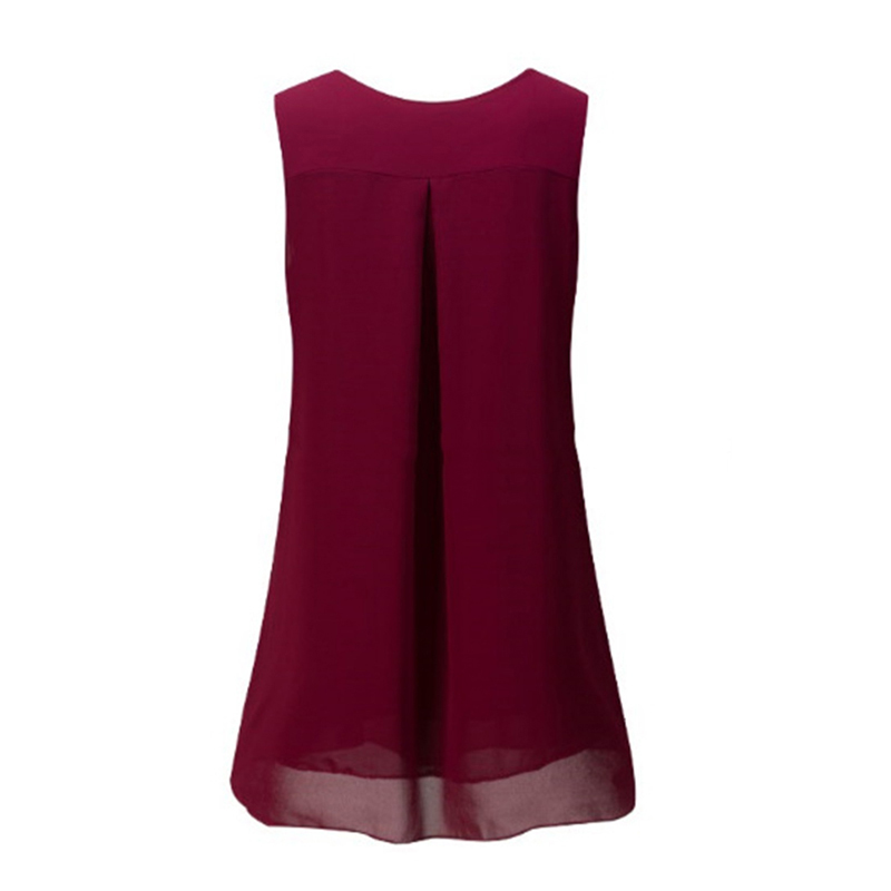 Summer Blouse 2018 Women's Sleevless Sleeve Casual O-Neck Loose Shirt Beach Tops Plus Size Chiffon Blouse 4
