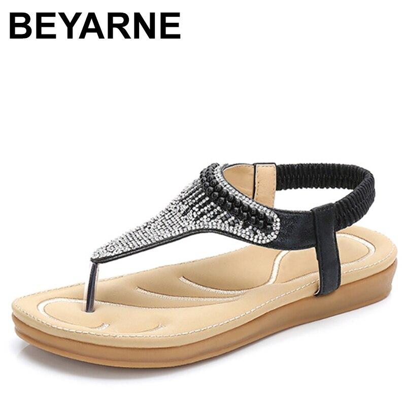 Beyarne Sommer Frauen Casual Wohnungen Sandalen Schuhe Frau Böhmen Strass Flip Flop String Bead Sexy Gladiator Strand Sandalen