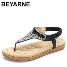 Beyarne夏の女性のカジュアルフラットサンダルの靴女性ボヘミアラインストーンフリップフロップ文字列ビーズセクシーなグラディエータービーチサンダル