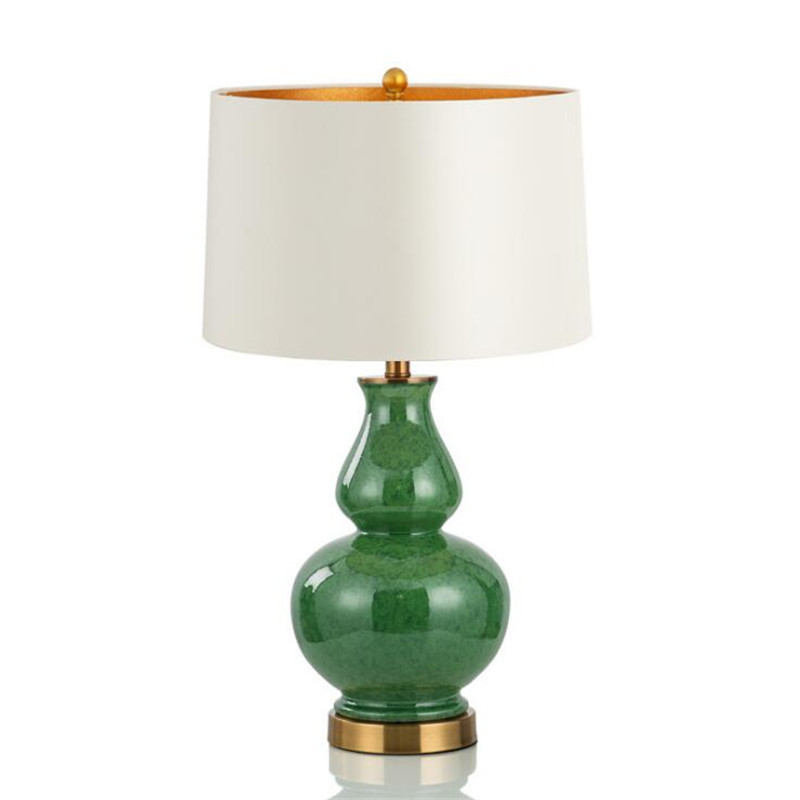 Vintage Country Chinese Green Ceramic Gourd Textile E27 Table Lamp for Living Room Bedroom Study H 66cm AC 80-265V 1633