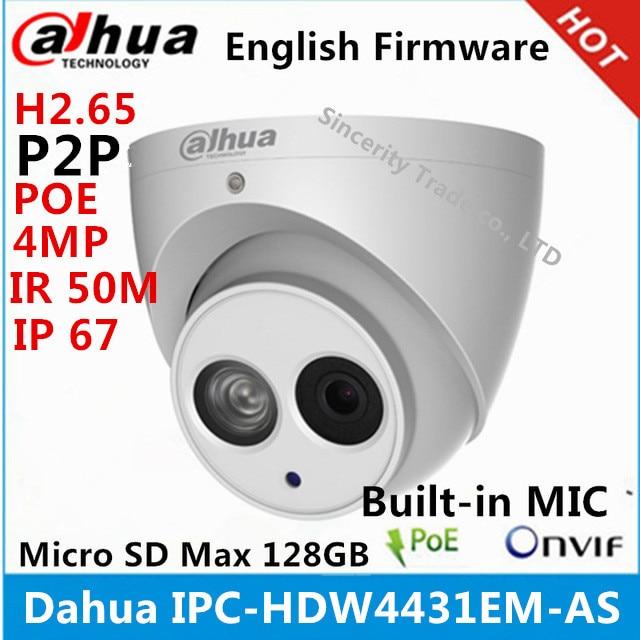bilder für Dahua IPC-HDW4431EM-AS metall shell H2.65 Eingebautem MIKROFON WDR IR 50 mt 4MP Ip-kamera mit POE DH-IPC-HDW4431EM-AS cctv-kamera