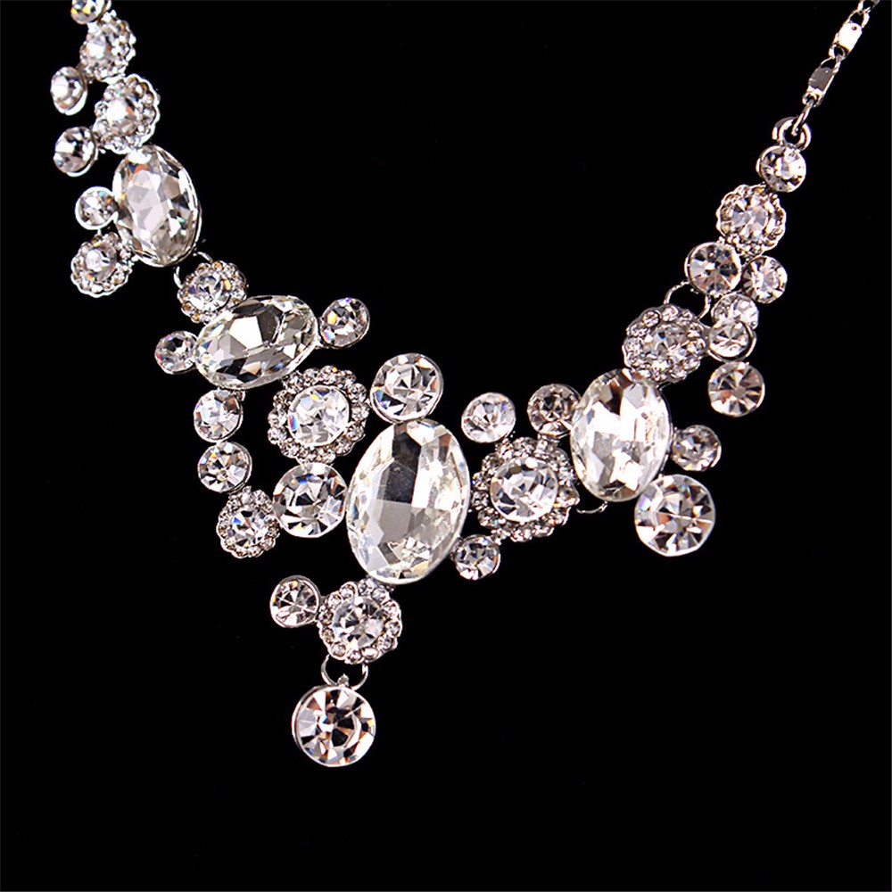8-Exquisite Statement Bridal Necklaces Women White Gold 585 Plated CZ Diamond Jewelry Vintage Collier Femme Colar Collares ND003