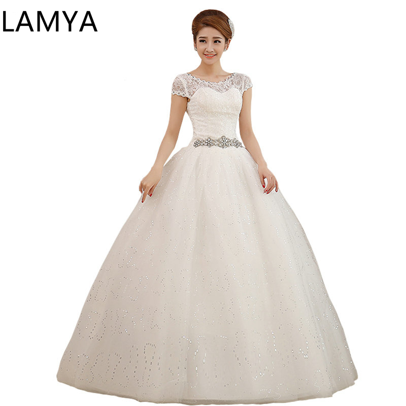 LAMYA  Pregnant Dress Weding Crystal Sashes IvoryTulle Bride Gown Floor Length Marriage Lace Up Back Customized