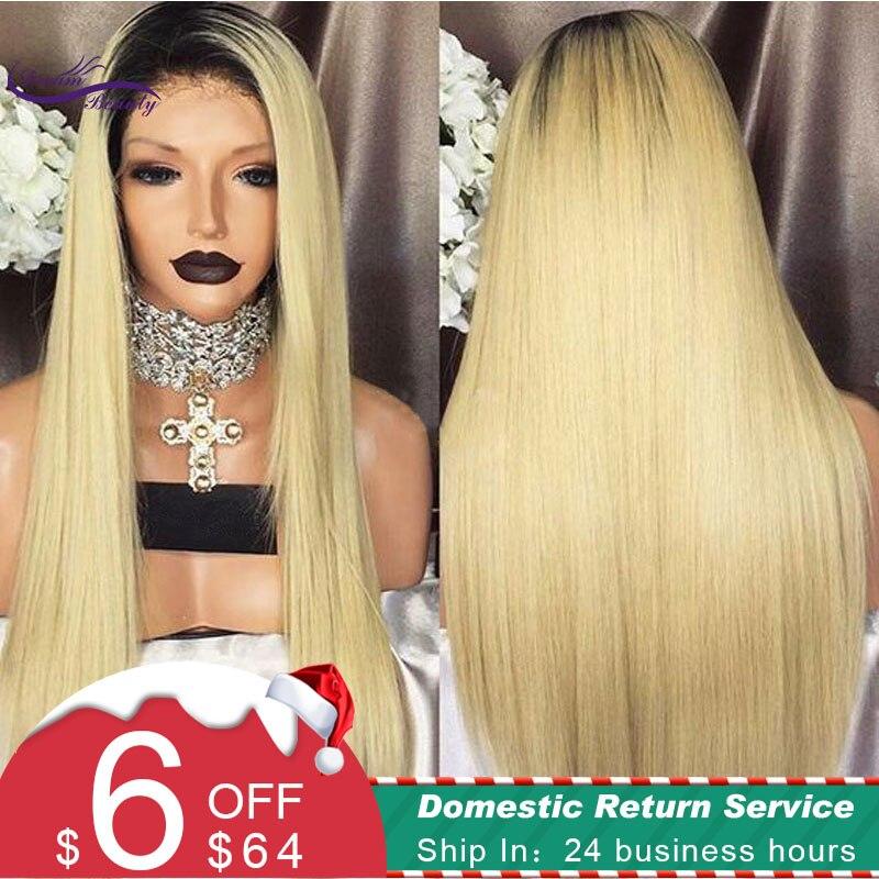Rêve Beauté 1B/613 Cheveux Raides Avant de Lacet Perruques Pré-pincées Perruque Humains Brésiliens Remy Cheveux Perruque avec foncé Noir Racines