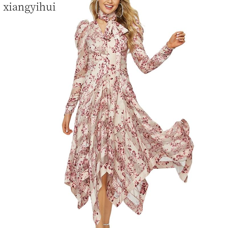 Długi Maxi asymetryczna nieregularne różowa sukienka lato z długim rękawem moda wydrukowano czeski sukienka w stylu Vintage Vestidos kobieta odzież w Suknie od Odzież damska na  Grupa 1