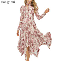 Long Maxi Asymmetric Irregular Pink Dress Summer Long Sleeve Fashion Printed Bohemian Dress Vintage Vestidos Female Clothing