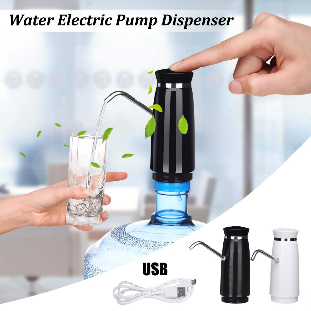 Wireless Automatic Electric Portable Water Pump Dispenser Gallon Drinking Water Bottle With Switch