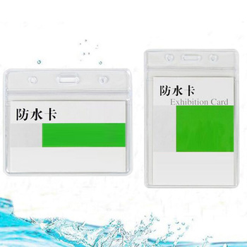 10Pcs  lanyards id badge holder horizontal transparent office supplies reel clip
