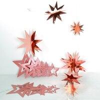 3 комплекта розовое золото бумага блестки полые 3D звезда гирлянды Баннер Дети Девочки День Рождения украшения для ребенка душ флаги