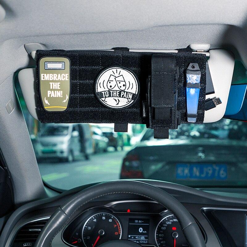 OneTigris MOLLE Visor Cover Pouch Multi-pocket Visor Panel Car Sun Visor Organizer CD Bag Auto Accessories For Travel Kits
