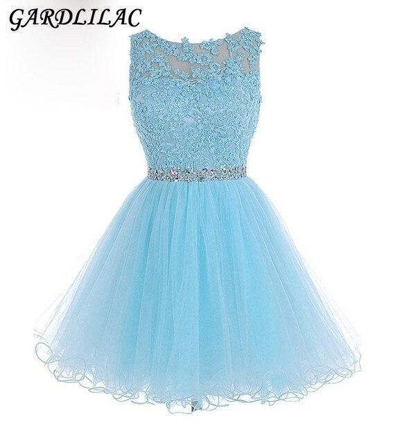 3ebb6f518b Nowy Krótki Prom Dresses Homecoming Dresses 2018 Różowy Niebieski Tiul Z  Koronki Aplikacje Kryształowe Koraliki Pas