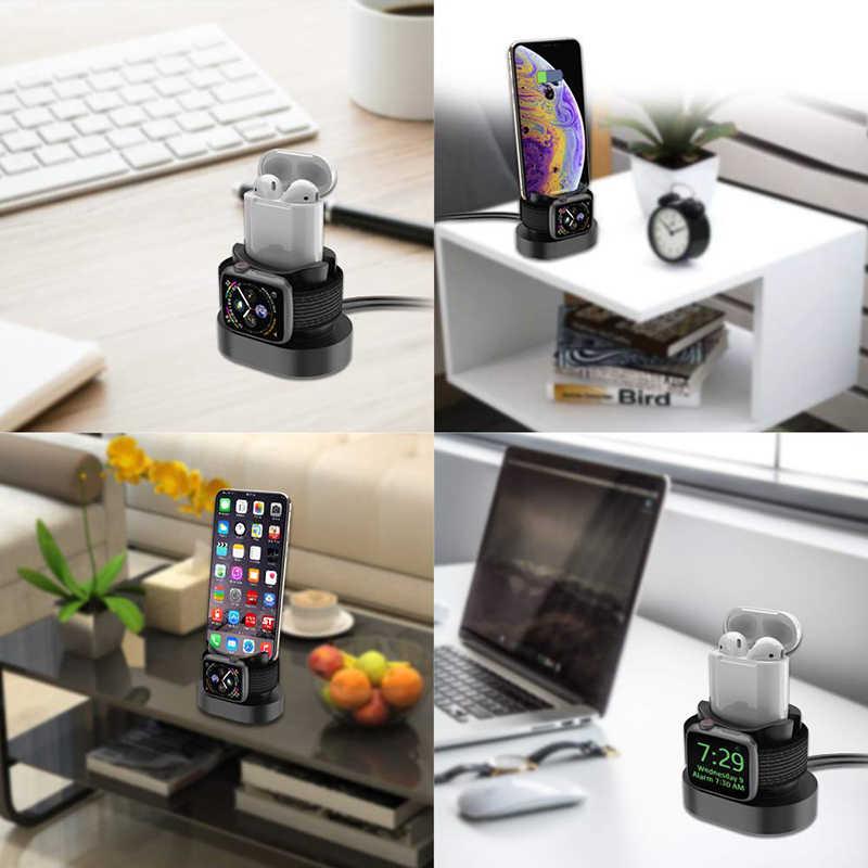 Estación de carga 2 en 1 para Iphone X Iphone XS Iphone 8 Base de carga para Apple Watch 4 3 2 Soporte de pie de noche