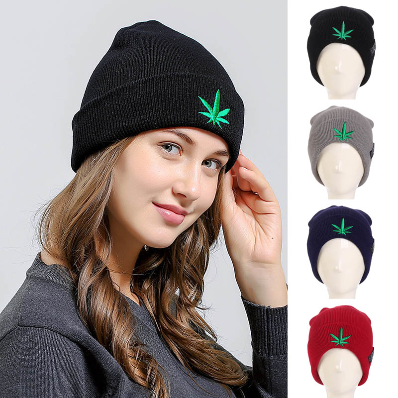 Leaf Pattern Cap Solid Color Slouchy Thick Knitted Beanie Hat for Autumn Winter FS99