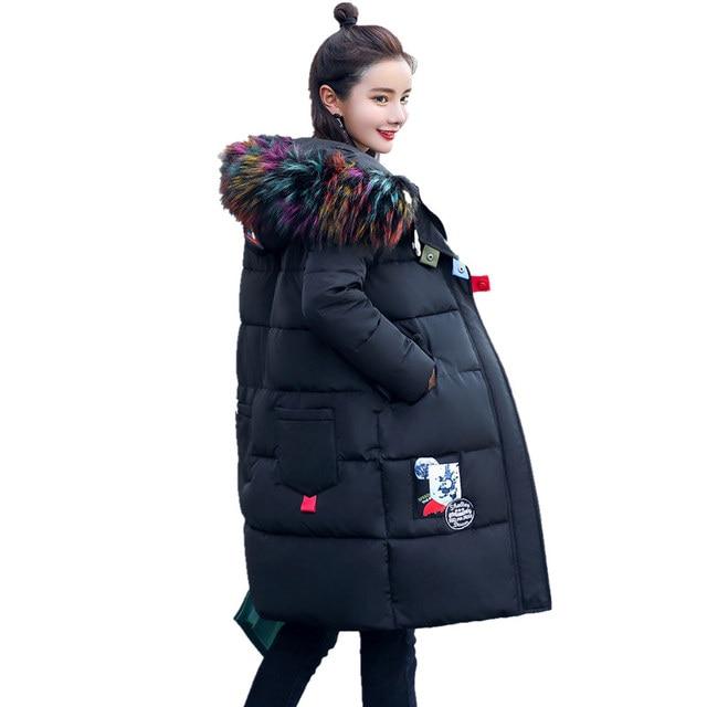 Winter Long Padded Cotton Female Korean Thick Hooded Wild Plus Size Large Fur Collar Loose Jacket Tide Jaqueta Feminina MZ1834