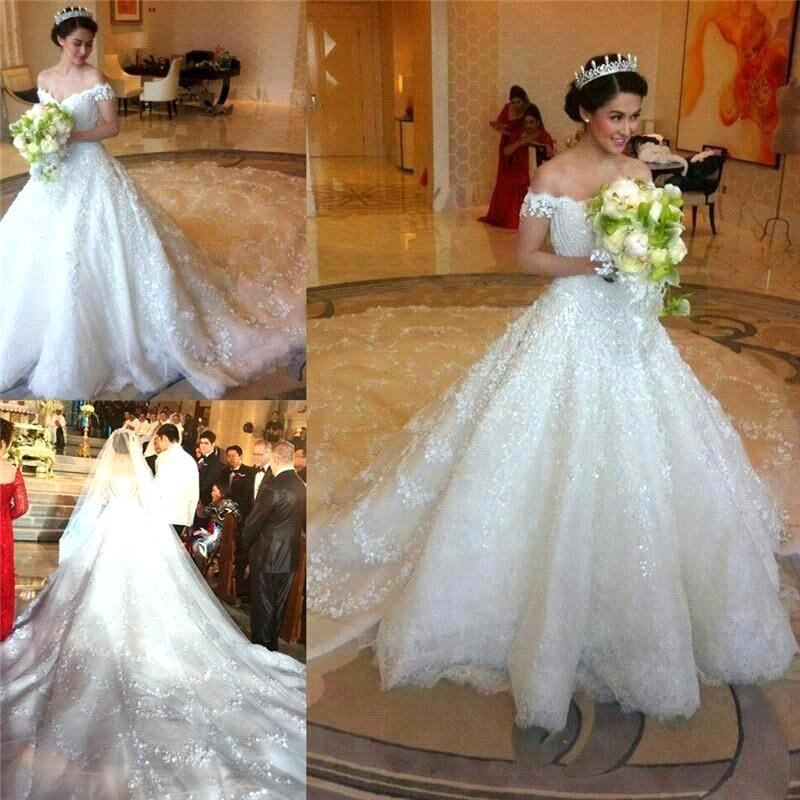 Aliexpress.com : Buy Gorgeous Lace Cathedral Train Ball Gown Wedding ...