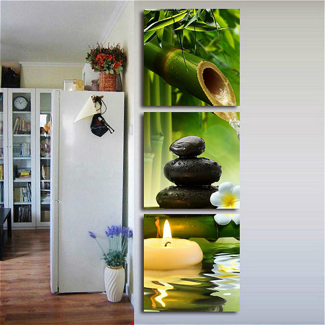 3 Panels Bamboo Green Pictures With SPA Zen Stone Candles Flower