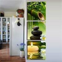 3 Panels Bambus Grün Bilder mit SPA Zen Stein Kerzen Blume Druck auf Leinwand Wand Kunst für Bad Wohnzimmer wohnkultur-in Malerei und Kalligraphie aus Heim und Garten bei