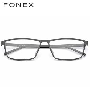 Image 2 - Pur titane lunettes cadre 2019 Prescription lunettes pour hommes carré myopie optique lunettes cadre homme japon lunettes 871