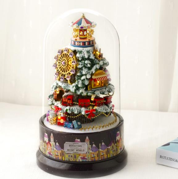 DIY Rotating Christmas Tree Small Music House Birthday Gift Handmade Experience Toys Building Model