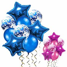Blue Balloons Air Ballons Deco Birthday Star Foil Baloon Helium Birthday Party Decorations Kids Adults Balls Silver Globos(China)