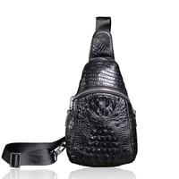 Genuine Leather Men Crocodile Pattern Briefcase Bag High Quality Shoulder Bags Vintage Men Messenger Bags Designer