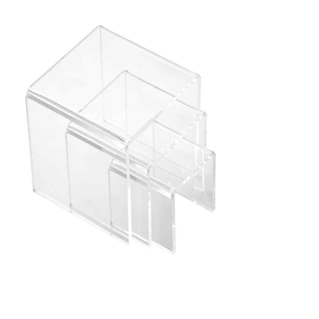 3,4, 5 дюймов квадратный акриловый 1/8 ''прозрачный 3 шт. стояк дисплей подставки набор витрин, чтобы установить ювелирные изделия или продукты для макияжа