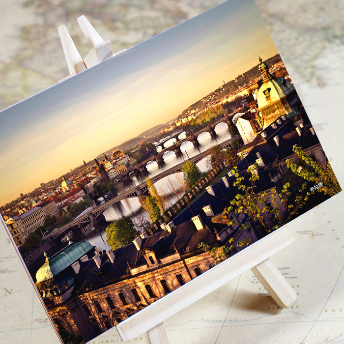 6pcs/set charming City Series Prague Urban Landscape Postcard /greeting Card/birthday Card/christmas Gifts Business Cards