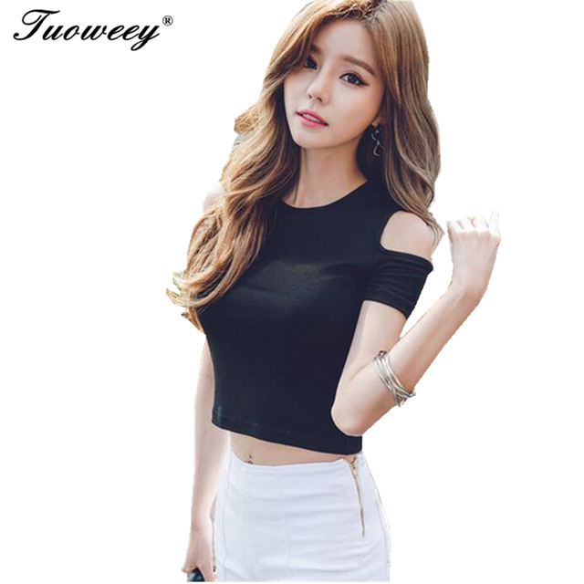 c29ed5c369c6a9 2017 summer shoulder off Solid Women Open Shoulder Tops Casual summer  Shirts short Sleeve tees Strap Shirt Women white black-in T-Shirts from  Women s ...