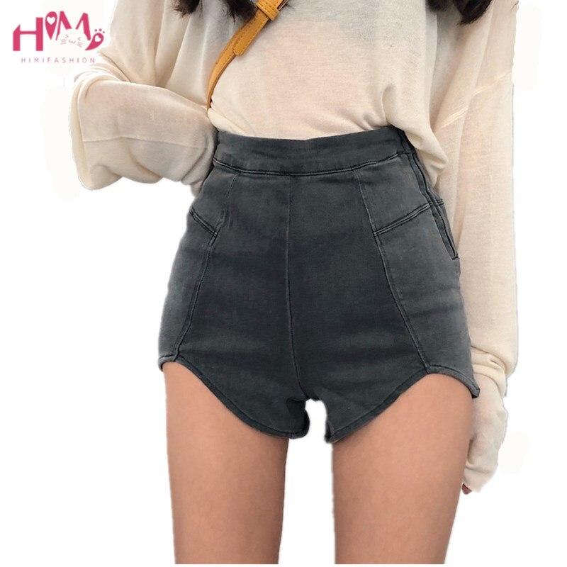 Summer High Waist Denim   Shorts   Women Harajuku Side Zipper Vintage Elastic Irregular Jeans Black Sexy Skinny Casual Femme Hot