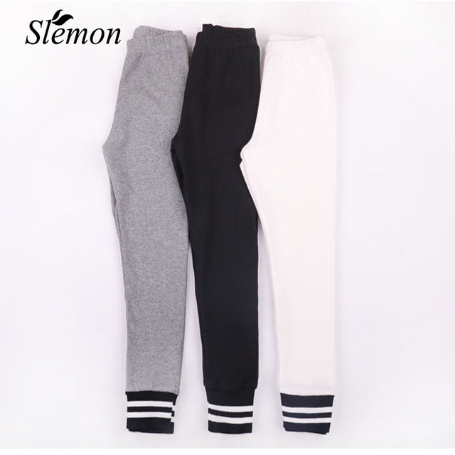 b1409a93bacb19 Children Basic Leggings Pants Kid Girls Cotton Striped Clothes 2018 Spring  Autumn Fashion Black Grey White Wear Outside Trousers