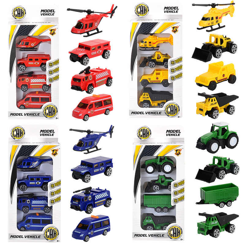 Diecast Car Helicopter Toys 1:64 Construction Vehicle Model Fire Truck Ambulance Aircraft Plane Tractor Sports Car Toy for Boys