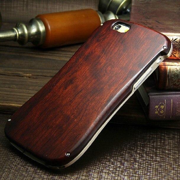 Nouveau étui pour IPhone 6 de luxe 4.7 pouces boîtier en bois Neo hybride cadre en aluminium + couverture arrière en bois pour IPhone 6 4.7
