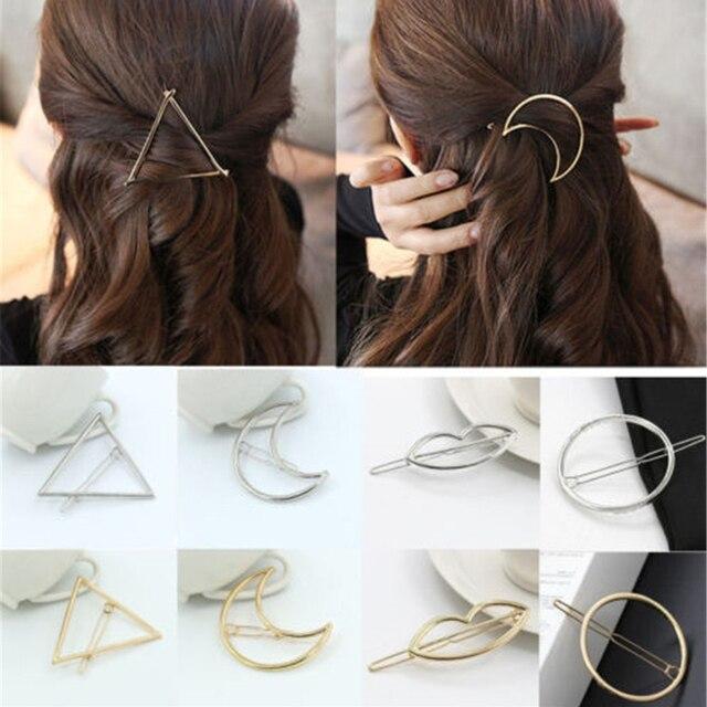 Nueva moda mujeres niñas oro/plateado Metal triángulo círculo Luna pelo Clips Metal círculo horquillas accesorios para el cabello