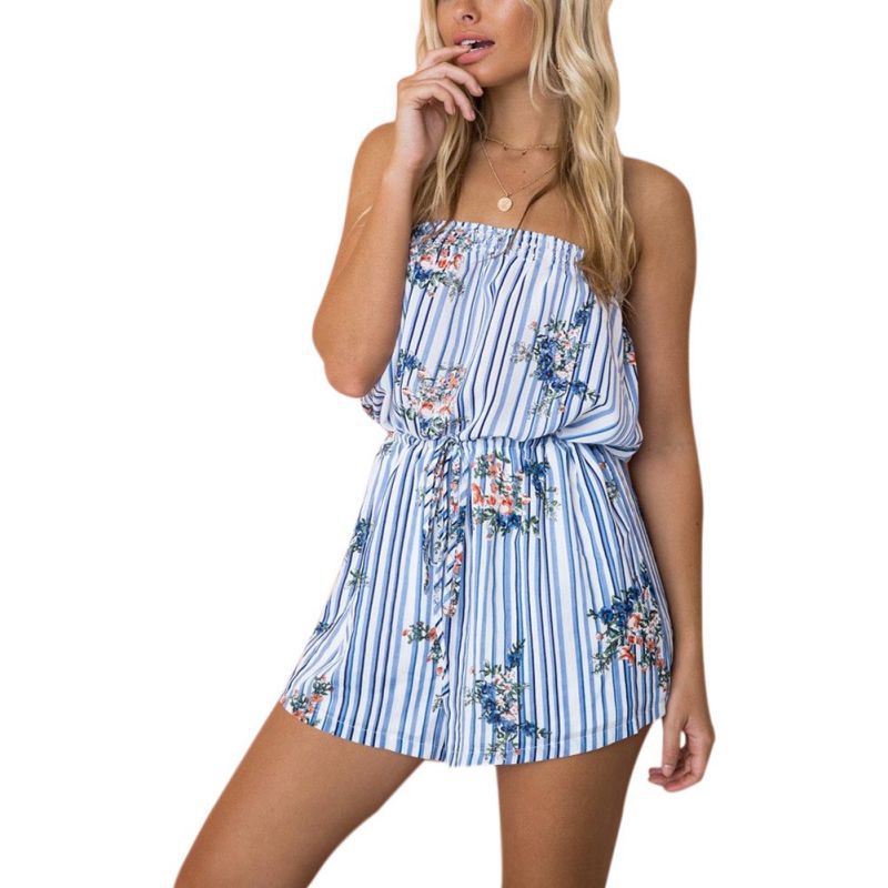 Women Sexy Strapless Rompers Floral Print Playsuit Summer Wrapped Chest Jumpsuits 2018 Hot Sale