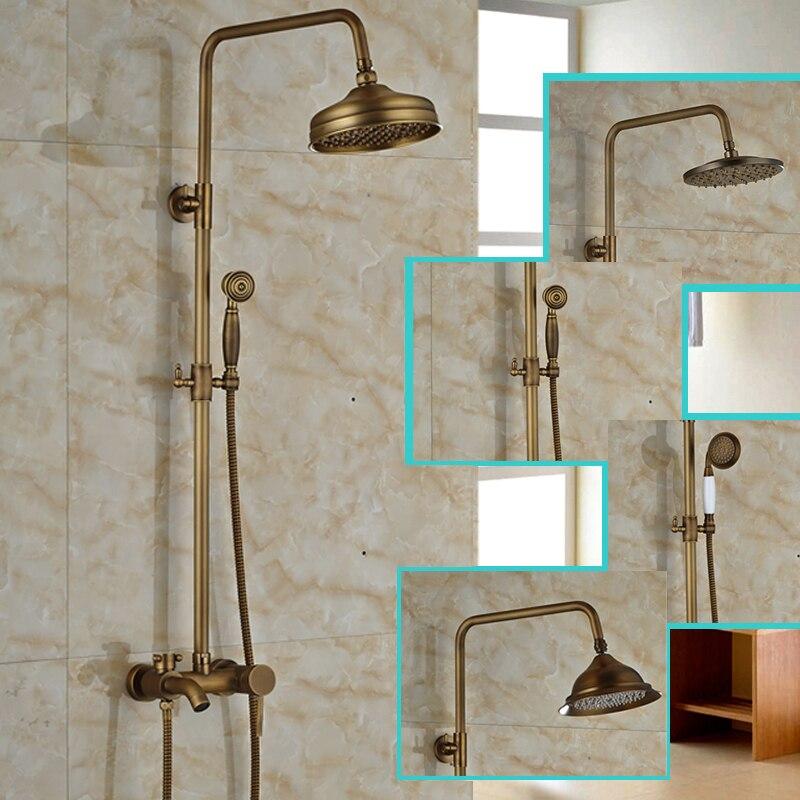 "Antique Brass Single Handle Bathroom Shower Mixer Taps Bathtub Shower Faucet 8"" Brass Showerhead + Handshower"