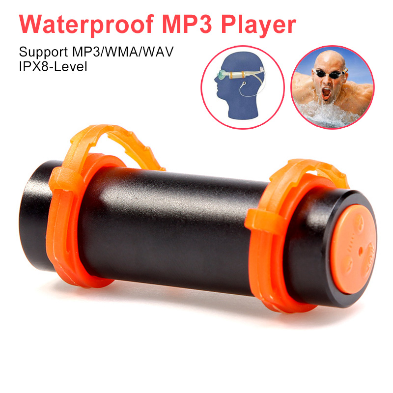 IPX8 Waterproof MP3 Player 4GB/8GB Swimming Diving Music Players Underwater Sports MP3 Player Earphone For Swimming