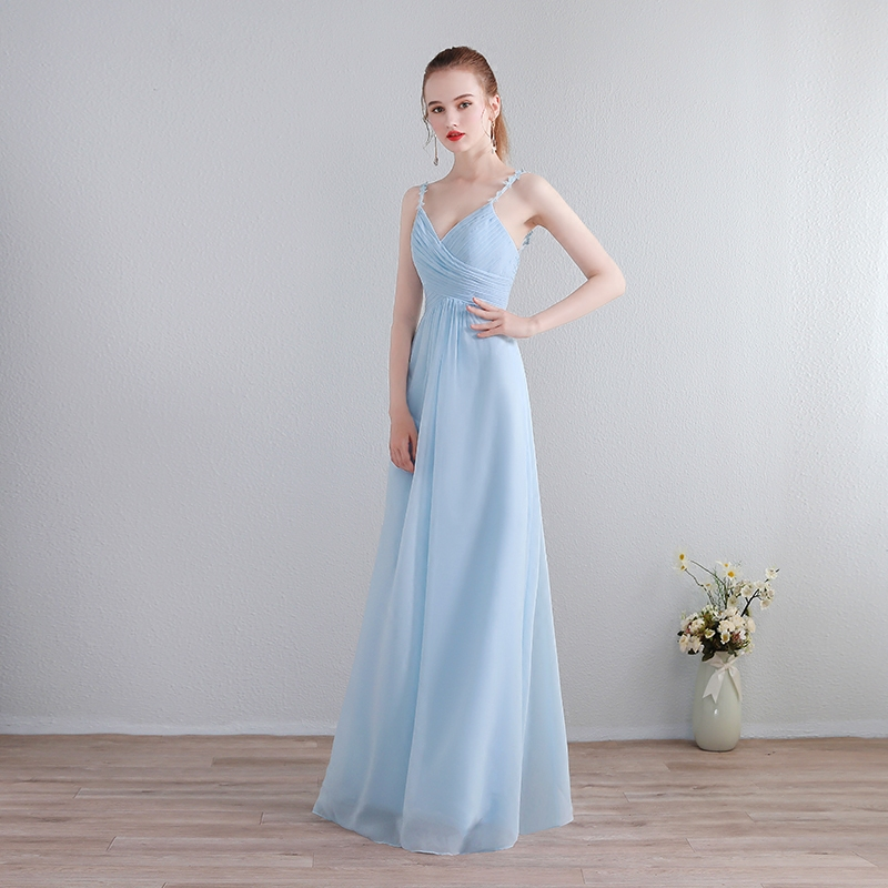 New Blue Sky Blue Chiffon A-Line   Bridesmaid     Dresses   2019 Lace Backless Off the Shoulder Homecoming Party Prom   Dresses