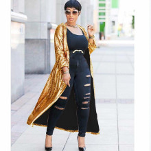 MUXU gold sequin glitter Autumn winter coat women Long Sleeve Fashion 2018 Will Code Cardigan Loose casaco feminino
