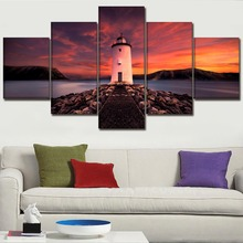 Wall Art Home Decor One Set 5 Panel Lighthouse Rock Sea Sunset Landscape Picture Modern Canvas Print Poster For Living Room