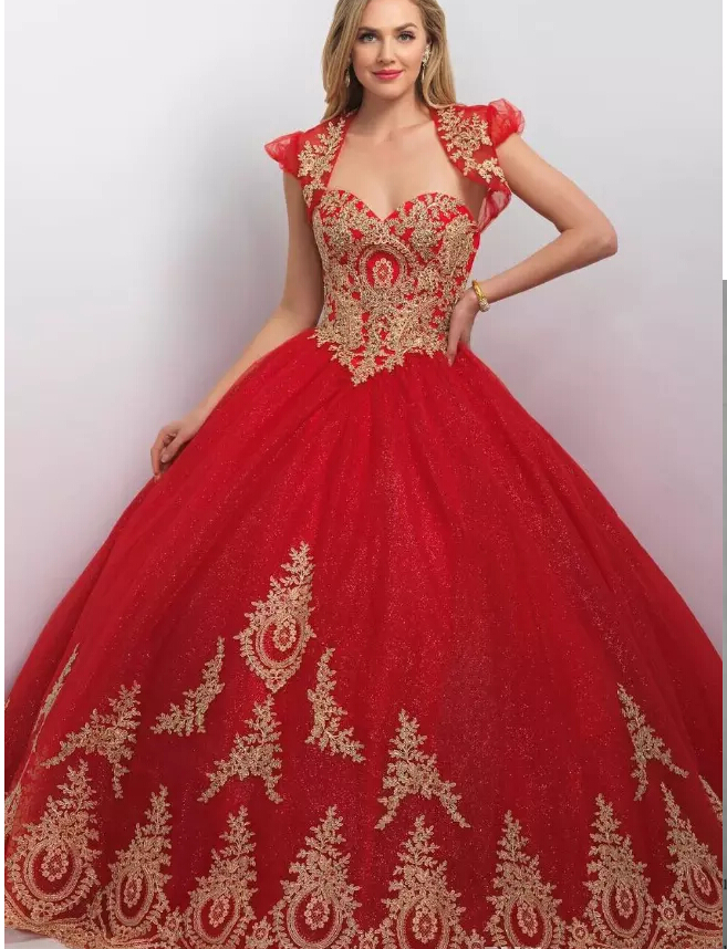 Aliexpress.com : Buy Princess Ball Gown Red Gold Quinceanera ...