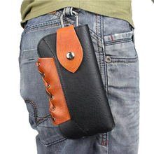 BISI GORO on the belt phone waist bag fashion hollow out protection plus case PU leather Wear-resistant heuptas heren