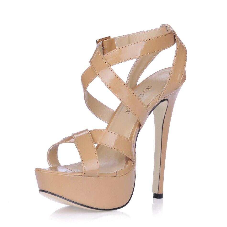 Patent Party Open Toe Stiletto Ankle Strap Platform Women Sandal Sandalias de Tacon Alto de Aguja Correa de Tobillo YJ3463SL a2 in High Heels from Shoes