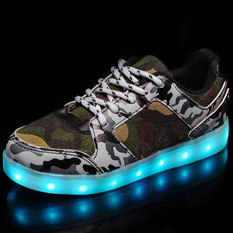 2018 jesień dzieci świecące trampki zieleń wojskowa USB buty - Obuwie dziecięce - Zdjęcie 4