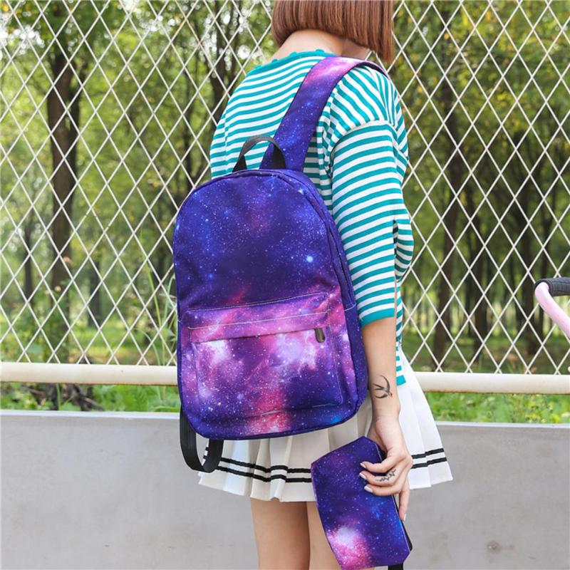 2Pcs Unisex Galaxy Backpack Canvas Backpack Universe Space Backpacks For Teenager Girls Travel Rucksacks Mochila Feminina