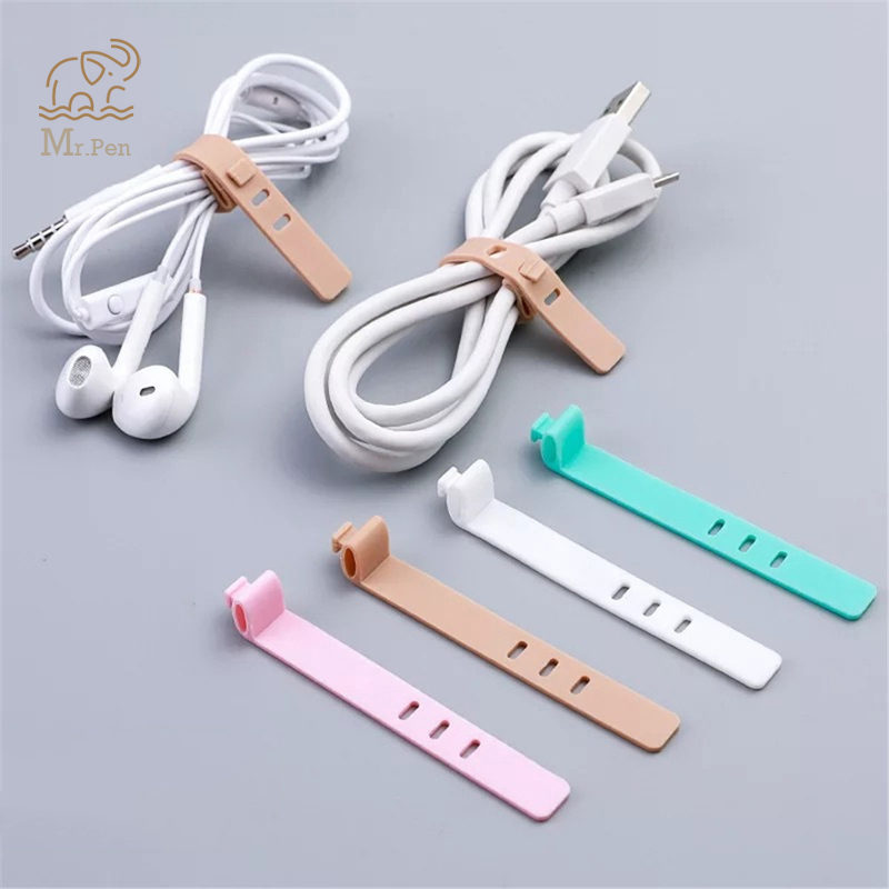 4pcs Solid Color Cable Winder Organizer Desk Set Wire Data Line Holder Line Fixer Winder Wrap Cord Desk Accessories Stationary